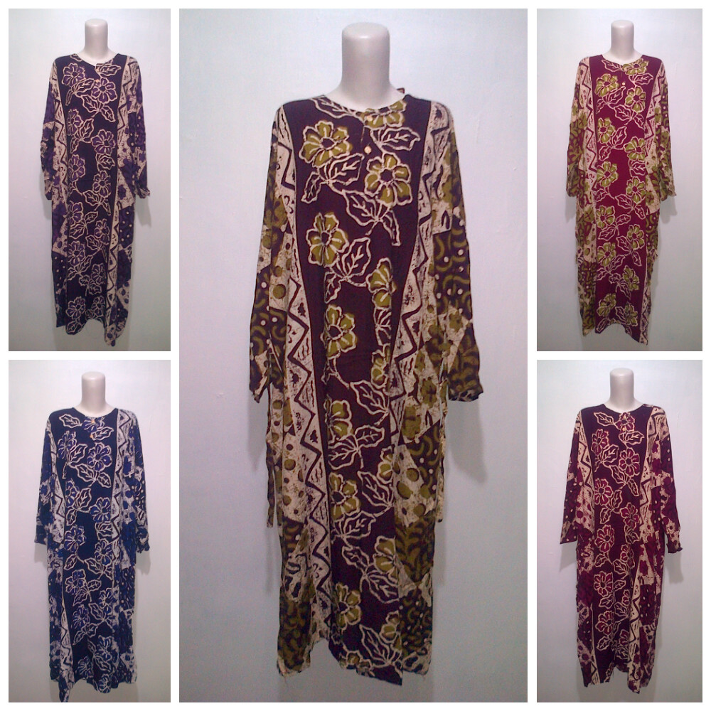 baju batik modern pekalongan – Longdress Super Jumbo Motif bunga Tertai adf60be042