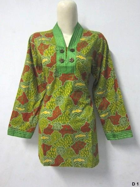 Blouse batik argreen D1