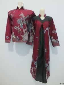 Sarimbit gamis lengan panjang batik argreen K19