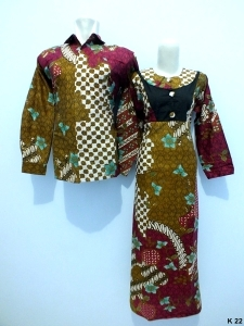 Sarimbit gamis lengan panjang batik argreen K22